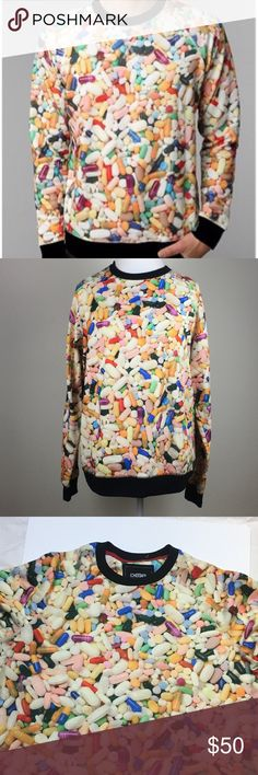 Urban Outfitters Deter Vitamin Pullover Sweatshirt Multicolor. Polyester. Urban Outfitters Sweaters Crewneck