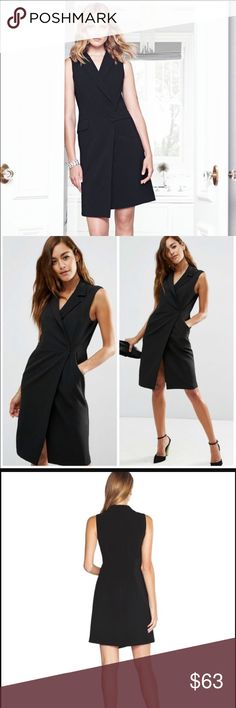Surplice tuxedo dress/coat Brand new and gorgeous tuxedo dress. Absolutely beautiful and a perfect black dress. Can also be styled with skinny jeans and heels and a top underneath. White House Black Market Dresses