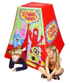 """Yo Gabba Gabba Play Tent by Time To Play. $24.99. Polyester cover can be cleaned with a damp cloth. Measure 34"""" x 36"""". It features a slitted front door for easy access, plus sticky tabs to hold the door closed. Enjoy all your favorite episodes in your very own Yo Gabba Gabba play structure. Shock-corded pvc poles make for easy set-up and storage. From the Manufacturer                Every Yo Gabba Gabba fan wants the Yo Gabba Gabba tent. This fun and colorful tent inspires ..."""