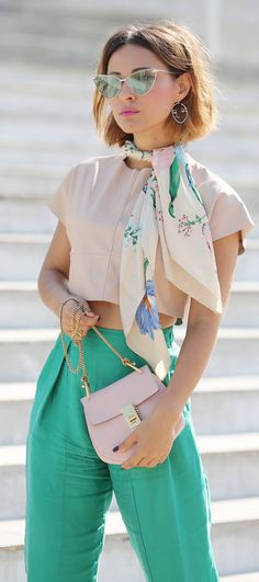 silk scarf outfits | chloe drew bag outfits | how to wear green