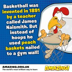 What would we do without this AMAZING sport? We're glad it's come a long way since 1891 though ;)  What's your favourite sport?  Find more incredible inventions acts in our latest issue: https://amazing.org.uk/collections/latest-magazines/products/amazing-issue-34-insane-inventions  #basketball #amazing #kids #magazine #inventions #children #education #learning