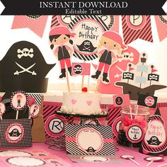 Instant Download Pink Pirate Birthday Printable Party Kit with editable Text for YOU to personalize