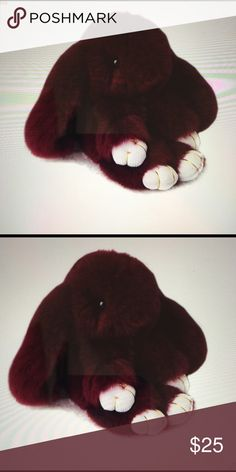 Rabbit bunny handbag backpack accessory 💕 Burgundy- This cute little guy is a great accessory for bags, backpacks and more. Soft and fun. Blow dry when you get him to fluff him up😀 Accessories Key & Card Holders