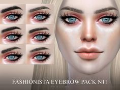 6 realistic brows, all come in 18 colors. Works for all ages and genders.  Found in TSR Category 'Sims 4 Hair Sets'