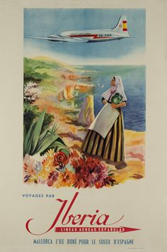 1955 Travel with Iberia, Spain vintage travel poster Original Vintage, Vintage Art, Vintage Travel Posters, Vintage Airline, Poster Vintage, Tourism Poster, Air France, Aviation Art, Illustrations Posters