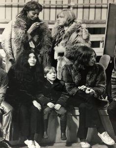 John and Julian Lennon, Yoko Ono, Brian Jones, and Donyale Luna, 1968