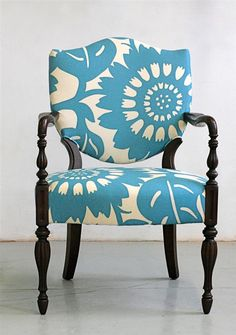 Modern Blue fabric on antique chair...stuffy no more!... Love this large pattern