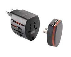 World travel adaptor with USB ports; USB and AC travel adapter that will work in over 150 countries. Charge notebooks and smartphones, like iPhone, Blackberry and Android based phones, and other devices worldwide.