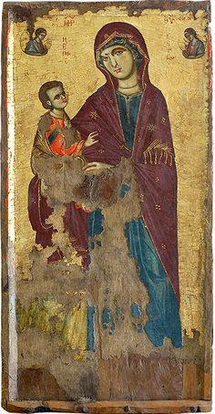 Virgin Mary (the Episkepsis). Early 14th c. A unique masterpiece, superbly evocative; radiates calmess and spirituality. Icon gallery, Ohrid, FYRoM.