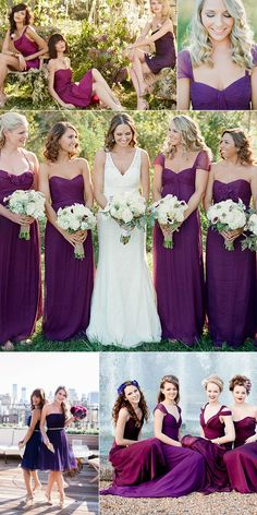 Fall wedding color ideas - Dark Purple and Fuchsin Bridemsmaid Dresses 2014 Inspirations  #tulleandchantilly