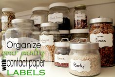 Organize Your Pantry for $ 1 with Glass Jars and Contact Paper (includes free printable label template)