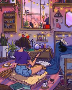Studio Ghibli Kiki's Delivery Service Psychedelic Art, Inspiration Art, Art Inspo, Aesthetic Art, Aesthetic Anime, Purple Aesthetic, Illustrator, Witch Art, Witch Painting