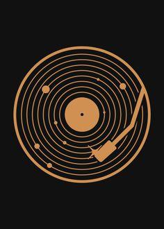 The Vinyl Sytem Minimalistic Poster Print Vinyl Music, Vinyl Art, Vinyl Records, Vinyl Poster, Poster Prints, Planet Tattoos, Sound Art, Music Images, Music Tattoos