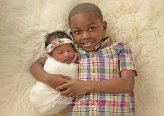 Precious baby photography newborn brother sister siblings African American fur