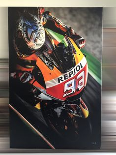 Airbrush painting of Marc Marquez on canvas 85x130cm.
