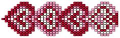 January 2013 website closed... Here is list of materials  good for bracelet or watch band....  String of Hearts is woven in square stitch using Delica beads.  The Delica beads used in the model & the bead counts are:    #603 Silver-lined Burnt Red: 182 beads or 0.91gm  #246 Dark Pink Lined Crystal: 143 beads or 0.715gms  #221 Gilt-lined White Opal: 110 beads or 0.55gms