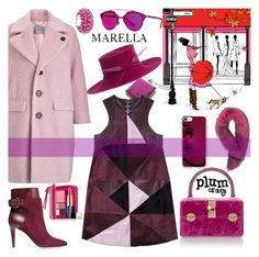 """""""PLUM CRAZY"""" by nicolevalents ❤ liked on Polyvore featuring Marella, Florence Bridge, Jimmy Choo, Dolce&Gabbana, Casetify, Philip Treacy, Christian Dior, Estée Lauder, Bling Jewelry and Andrew Marc"""