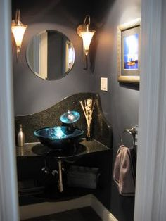 we renovated our small powder room. paint color - #behr 'lavender