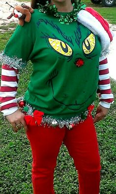 Hey the grinch fans, you might just want to consider this funky ugly christmas sweater idea. its green, grinch-y, and ugly (?) enough to work for the ugly Couples Christmas Sweaters, Diy Ugly Christmas Sweater, Christmas Shirts, Xmas Sweaters, Xmas Jumpers, Christmas Pajamas, Grinch Christmas Party, Christmas Costumes, Christmas Ideas