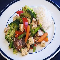 Tofu Stir-Fry with Asparagus, Broccoli, Mushrooms, Carrots and Peppers in a Ginger-Lemon Sauce #MeatlessMonday