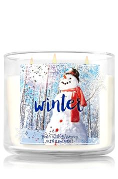 """Winter - 3-Wick Candle - Bath & Body Works - The Perfect 3-Wick Candle! Made using the highest concentration of fragrance oils, an exclusive blend of vegetable wax and wicks that won't burn out, our candles melt consistently & evenly, radiating enough fragrance to fill an entire room. Topped with a silver, snowflake-embossed lid! Burns approximately 25 - 45 hours and measures 4"""" wide x 3 1/2"""" tall."""