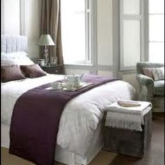 Grey and purple bedroom..Inspiration for Master Bedroom