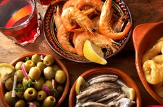 Seafood tapas, olives and Rosé!