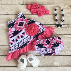 Hot Pink/Black Aztec Swing Top Set #boutique-outfits #new #newborn-clothing #perfect-sets