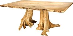 Amish Rustic Double Stump Table with Spalted Maple Top