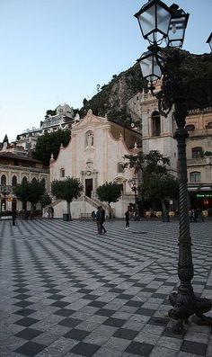 Piazza IX Aprile and San Giuseppe Church, Taormina, Sicily, Italy (by washingtonydc on Flickr) Italy Vacation, Italy Travel, Italy Trip, Sardinia Italy, Sicily Italy, Travel Around The World, Around The Worlds, Taormina Sicily, Beautiful Places To Live