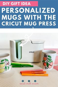 Learn how to use Infusible Ink markers and pens with the Cricut Mug Press! You can make adorable DIY mugs in minutes, perfect for gifting. #cricutmugpress #cricutmade #cricut Diy Projects For Beginners, Cool Diy Projects, Easy Diy Gifts, Homemade Gifts, Cricut Access, Orange Mugs, Laser Paper, Mug Press, Diy Mugs