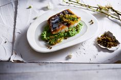 Roasted Spanish Mackerel with Broccoli Puree and Crispy Capers.