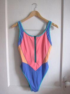Scuba Cool One Piece Zip-up Swimsuit - Vintage 80s 90s - Neon Colorblock - Size…