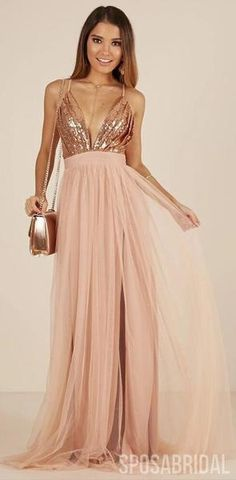 Charming Rose Gold Sequin and Tulle Long Spaghetti Straps Simple Prom Dresses, Bridesmaid Dresses, Dusty Pink Bridesmaid Dresses, Gold Bridesmaid Dresses, Prom Dresses, Summer Dresses, Formal Dresses, Rose Gold Dresses, Rose Gold Long Dress, Pink And Gold Dress, Bridesmaids
