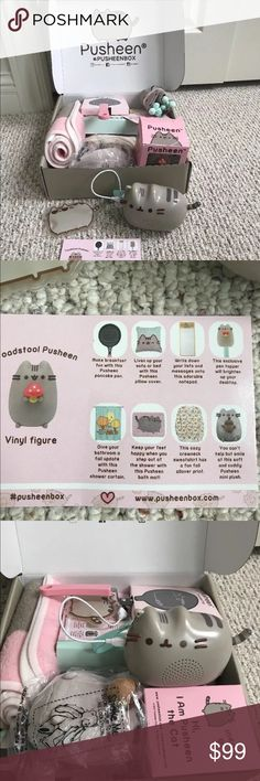 Pusheen 2017 Fall box NEW with extras This is a Pusheen Fall 2017 box! It has been opened and the vinyl character box was just ripped when opened but never used! Everything is brand new!! This will come with the box and also two extra pieces from the summer box. A Bluetooth speaker shown and ice pack.  Has XS/sweatshirt. If you look on the postcard there are two items missing the pen topper and paper, but then there will be two extras! (Speaker & ice pack)  Please no low offers. Everything…
