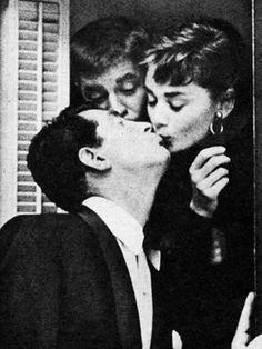 Audrey Hepburn and Dean Martin photographed at the Paramount...