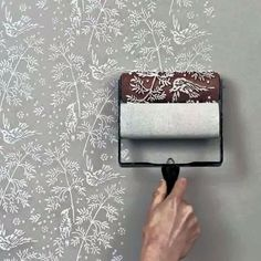 Make your own lace wallpaper effect, brilliant! You could make a canvas if you didn't want a complete wall covered, lovely. There are lots available on Etsy type in 'patterned paint roller' this example and others. Lace Wallpaper, Wallpaper Ideas, Bedroom Wallpaper, Hanging Wallpaper, Wallpaper Roller, 2017 Wallpaper, Wallpaper Stencil, Interior Wallpaper, Beautiful Wallpaper