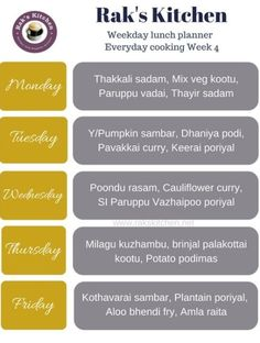 Indian Food Menu, Indian Food Recipes, Indian Meal, Weekly Menu Planners, Meal Planner, Curry Leaves, Cauliflower Curry, Diet Chart