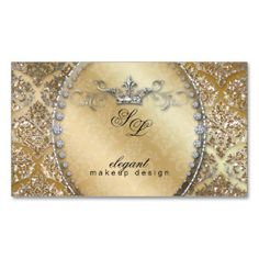 Fashion Jewelry Makeup Artist Damask Crown Cool Business Card Template