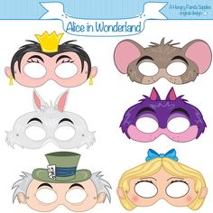 Alice in Wonderland Characters Printable Kids Birthday Party Masks