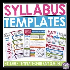 SYLLABUS EDITABLE TEMPLATES: Throw out your boring syllabus and replace it with one of these eye-catching editable template designs. Included are 6 different front page templates, and 3 back page options where you can go into more detail on your classroom Co Teaching, Teaching Style, Beginning Of School, Back To School, School Stuff, Page Template, Templates, Syllabus Template, Powerpoint Format