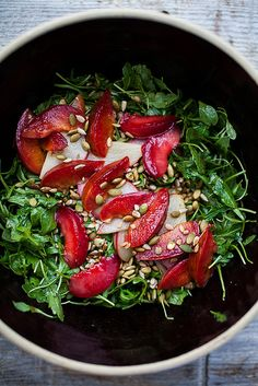 Metabolism Revolution A salad of sautéed pears and plums - This time of year is the glorious in-between, with the last of the summer plums crashing up against the first of the fall pears. Enjoy this beautiful salad for lunch (serves Healthy Salads, Healthy Eating, Healthy Food, Whole Food Recipes, Cooking Recipes, Cooking Tips, Vegetarian Recipes, Healthy Recipes, Le Diner