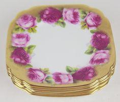 6 x Square Bread Plates Royal Albert Crown China Old English Rose Heavy Gilt | eBay