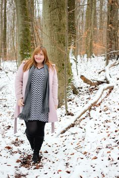 Plus Size Outfit by kathastrophal.de - pink coat and chevron dress in the snow