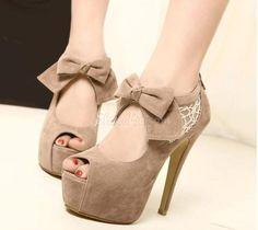 Elegant Peep-toe Platform Stiletto Heels with Bow & Lace,koko:9 ja väri leobard