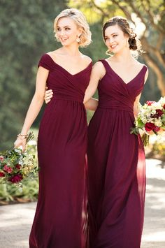 Chic Burgundy Bridesmaids Dresses For A Mixed Berry Mix And Match Bridal Party You