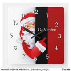 Personalized Red & White Santa Square Wall Clock Cheap Christmas Gifts, Christmas Items, Holiday Cards, Christmas Cards, Christmas Decorations, Wall Clocks, Christmas Card Holders, Wallpaper S, Wall Murals