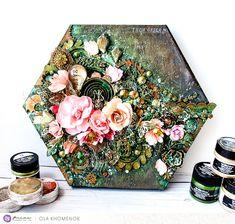 LikeArtStudio by Ola Khomenok: Hexagon mixed media canvas. Prima Marketing DT.