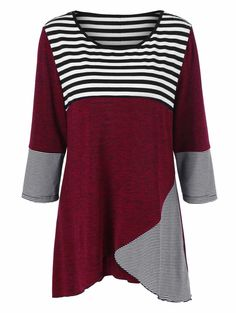 Plus Size Striped Trim Button Embellished Tee