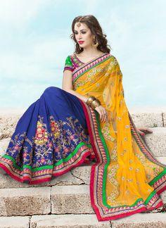 Alluring Orange Net Silk Wedding Saree @ $108